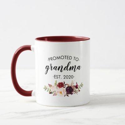 Personalized Promoted to Grandma Floral Burgundy Mug