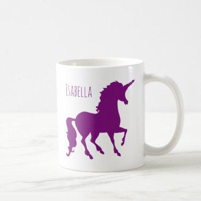 Personalized Purple Unicorn Silhouette Beautiful Coffee Mug