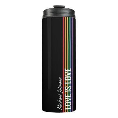 Personalized Rainbow Stripes LGBT Custom Thermal Tumbler