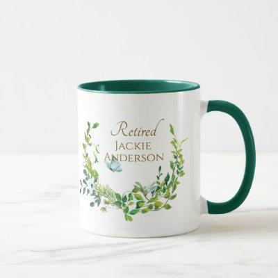 Personalized Retirement Mug Botanical Gold