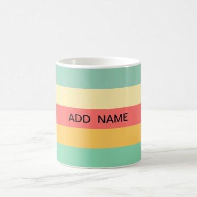 Personalized Retro Pink Yellow Green Blue Stripes Coffee Mug