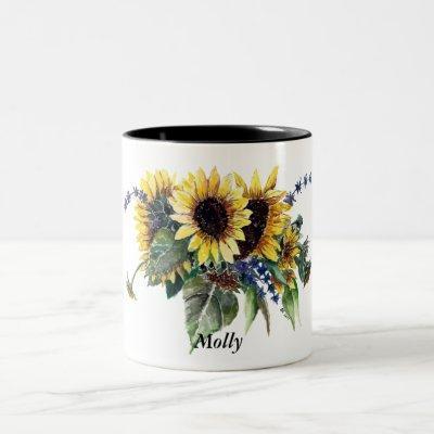 Personalized Sunflower Bouquet Two-Tone Coffee Mug