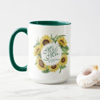 Personalized Sunflower Wedding Combo Mug