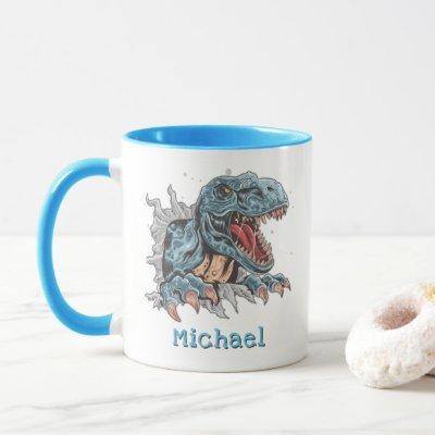 Personalized T-Rex dinosaur mug