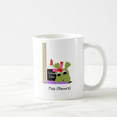 Personalized Teacher Coffee Mug-Cute Frog w/ Ruler Coffee Mug