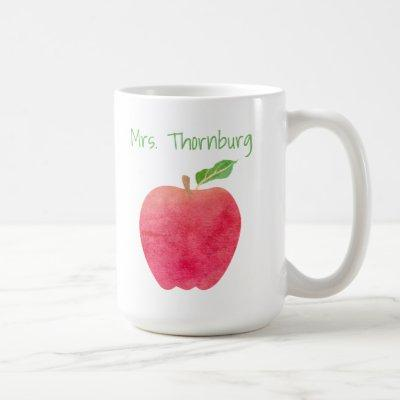 Personalized Teacher Red Watercolor Apple Teachers Coffee Mug