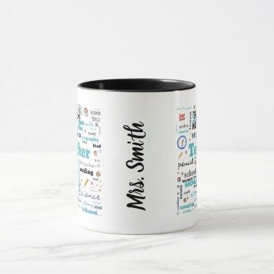 Personalized Teacher's word art mug