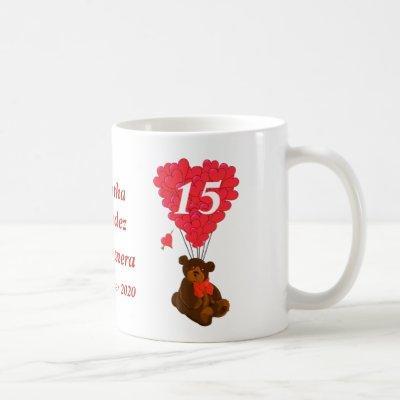 Personalized teddy bear Quinceanera Coffee Mug