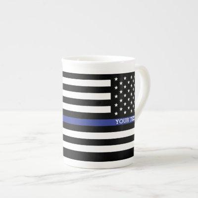 Personalized Thin Blue Line American Flag Bone China Mug