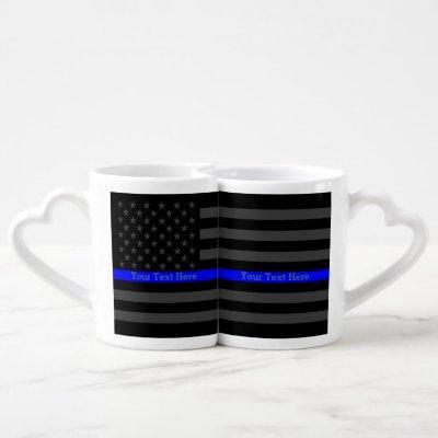 Personalized Thin Blue Line Grey US Flag set Coffee Mug Set