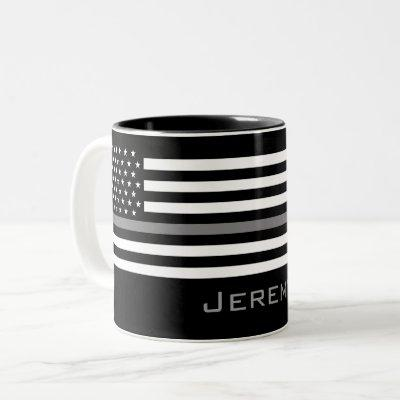 Personalized Thin Gray Line Correctional Officer Two-Tone Coffee Mug