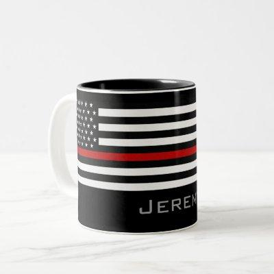Personalized Thin Red Line Firefighter Flag Two-Tone Coffee Mug