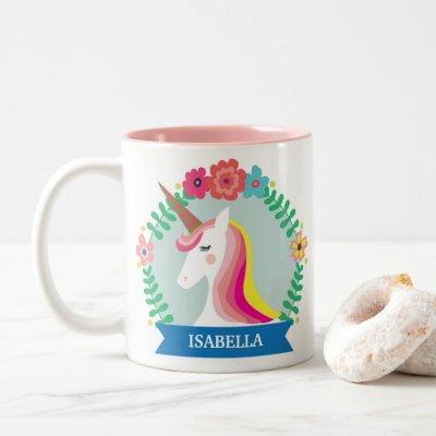 Personalized Unicorn Wreath Two-Tone Coffee Mug