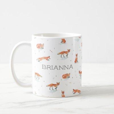 Personalized Watercolor Fox Coffee Mug