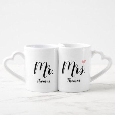 Personalized Wedding / Newlywed Gift - Mr. & Mrs. Coffee Mug Set