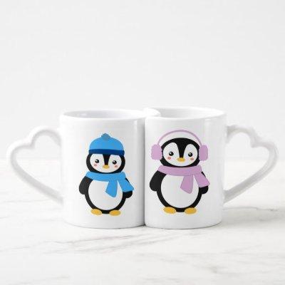 Personalized Winter Penguins Coffee Mug Set
