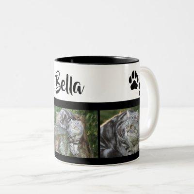 Pet Cat Photo Collage With Paw Prints Personalized Two-Tone Coffee Mug