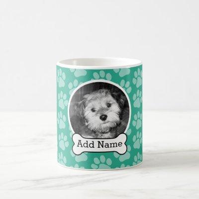 Pet Photo with Dog Bone and Paw Prints Green Coffee Mug