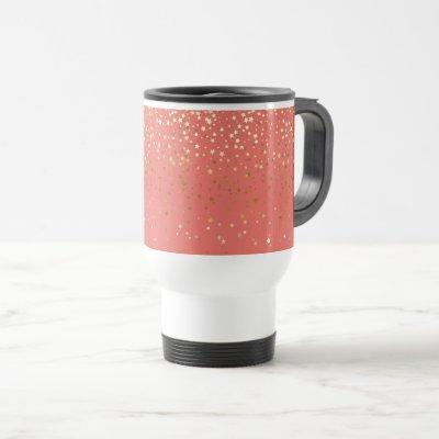 Petite Golden Stars Travel Coffee Mug- Coral Travel Mug