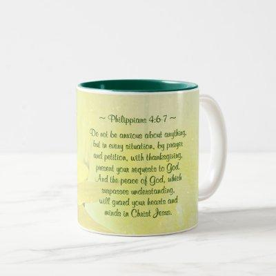 Philippians 4:7 Peace of God will guard your heart Two-Tone Coffee Mug
