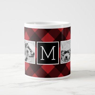 Photo Collage - Monogram Red Black Buffalo Plaid Large Coffee Mug