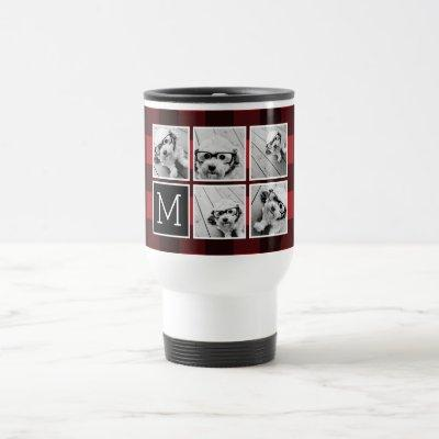 Photo Collage - Monogram Red Black Buffalo Plaid Travel Mug