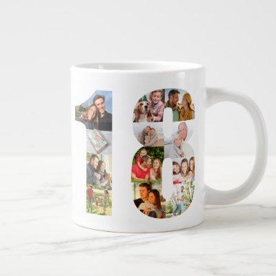 Photo Collage Number 18 - 18th Birthday Giant Coffee Mug