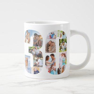 Photo Collage Number 30 - 30th Birthday Giant Coffee Mug