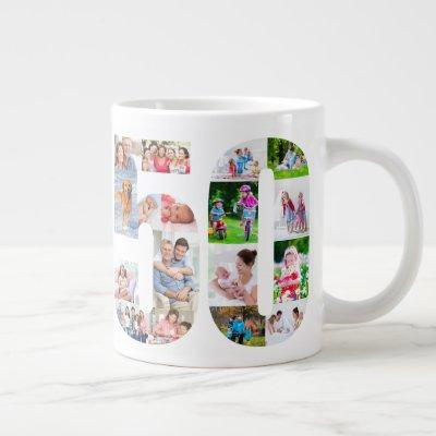 Photo Collage Number 50 - 50th Birthday Giant Coffee Mug