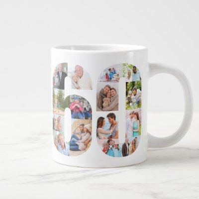 Photo Collage Number 60 - 60th Birthday Giant Coffee Mug