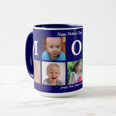 Photo Mom Collage Coffee Navy Blue Big Combo Mug