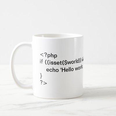 PHP Hello World! conditional code mug