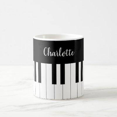 Piano Keyboard, Black and White Mug