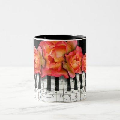Piano Keyboard Roses and Music Notes Two-Tone Coffee Mug