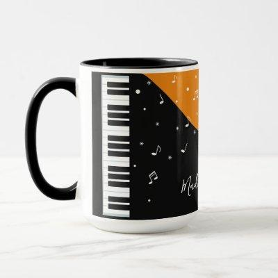 Piano Music custom name mugs