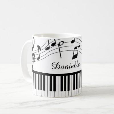Piano Music Notes Script Name Black White Coffee Mug