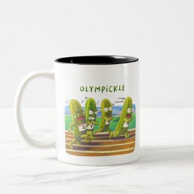 Pickles Running at the Olympic...kle Two-Tone Coffee Mug