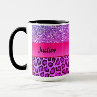 Pink and Purple Glam Leopard Print Mug