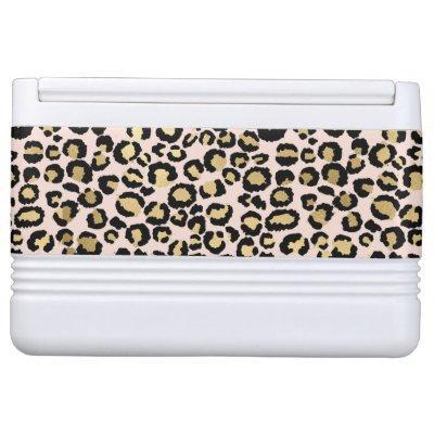 Pink Blush Gold Leopard Print Cooler