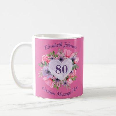 Pink Floral 80th Birthday Mug for Women