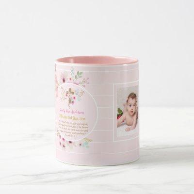 Pink Floral BAUTIZO Baptism Bible Verse Photo Girl Mug