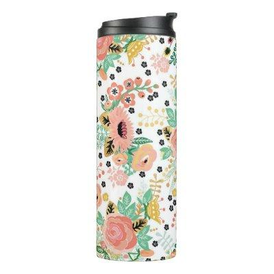 Pink Floral Bloom Thermal Tumbler