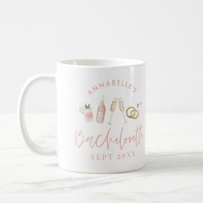 Pink girly modern champagne bachelorette stylish coffee mug