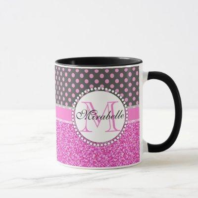 Pink Glitter and Pink Polka Dots on gray Named Mug