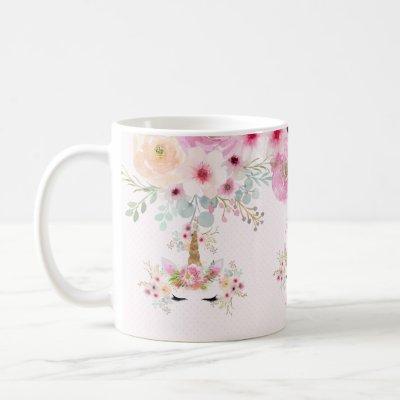 Pink Gold Glitter Unicorn Face Flowers Girls Gifts Coffee Mug
