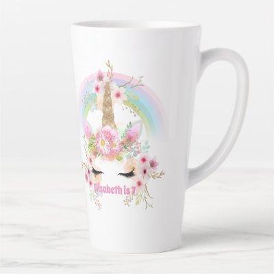 Pink Gold UNICORN Rainbow Flowers Girls NAMED Gift Latte Mug