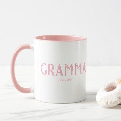 Pink Gramma Year Established Mug