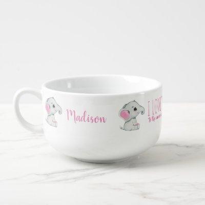 Pink gray Elephant Personalized Baby Food Mug