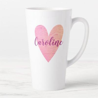 Pink Heart Latte Mug
