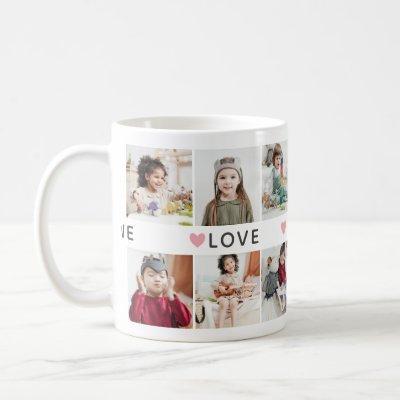 Pink Hearts Photo Collage We Love You Grandma Coffee Mug